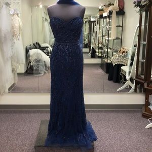 Montage sequin and beaded sweetheart sheath gown
